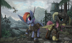 Size: 2500x1500 | Tagged: alternate version, armor, artist:yakovlev-vad, castle, crossover, dovahshy, dragon, duo, duo female, female, fluttershy, helmet, mare, mountain, pegasus, pony, rainbow dash, safe, scenery, skyrim, sword, the elder scrolls, tree, weapon
