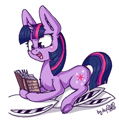 Size: 488x509 | Tagged: aggie.io, artist:dsp2003, book, cute, female, mare, open mouth, parody, pillow, pixel art, pony, safe, twiabetes, twilight sparkle, unicorn