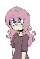 Size: 612x896 | Tagged: safe, artist:urbanqhoul, fluttershy, human, equestria girls, clothes, colored pupils, cute, eye clipping through hair, female, humanized, shirt, shyabetes, simple background, solo, transparent background