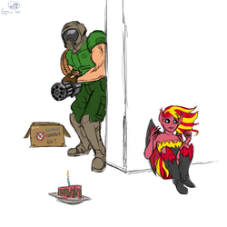 Size: 1555x1555 | Tagged: safe, artist:bigrigs, derpibooru exclusive, sunset shimmer, equestria girls, cake, doom, doomguy, food, it's a trap, sunset satan, the cake is a lie