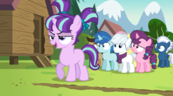 Size: 8000x4492 | Tagged: safe, artist:bubblestormx, cool beans, double diamond, fluttershy, night glider, party favor, starlight glimmer, sugar belle, marks and recreation, the cutie map, absurd resolution, alternate universe, clothes, colt, equal four, female, filly, filly fluttershy, filly starlight, male, s5 starlight, scarf, younger