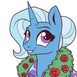 Size: 900x900 | Tagged: safe, artist:28gooddays, artist:ichiban-iceychan1517, color edit, edit, trixie, pony, unicorn, alternate hairstyle, bust, cape, clothes, colored, cute, diatrixes, female, hair bun, mare, simple background, smiling, solo, transparent background, trixie's cape, wreath