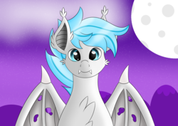 Size: 7016x4961 | Tagged: artist:syncedsart, bat pony, bat pony oc, bust, chest fluff, clip studio paint, cloud, cloudy, cute, digital art, ear fluff, fangs, gift art, male, oc, oc:dazzly, safe, simple background, solo, stallion, teeth, wings, wings folded