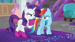Size: 1280x720 | Tagged: safe, screencap, rainbow dash, rarity, pegasus, pony, unicorn, the end in friend, azurantium, boots, duo, female, glitter boots, mare, neckerchief, shoes, sparkles