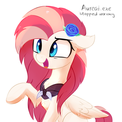 Size: 705x705 | Tagged: adorable face, artist:aureai, aureai is trying to murder us, chest fluff, clothes, confused, cute, ear fluff, female, floppy ears, flower, flower in hair, fluffy, folded wings, hoof fluff, leg fluff, mare, oc, oc:aureai, oc only, open mouth, pegasus, pony, pony.exe has stopped working, raised eyebrow, raised hoof, safe, scarf, simple background, sitting, smiling, solo, stuck, weapons-grade cute, white background, wing fluff
