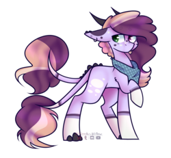 Size: 2900x2684 | Tagged: adoptable, artist:wooden-willow, clothes, digital art, double tail, ear piercing, female, heterochromia, high res, horns, mare, oc, oc only, one hoof raised, original species, :p, piercing, pony, safe, scarf, signature, silly, simple background, solo, standing, tongue out, transparent background, two tails, ych result
