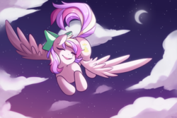 Size: 3000x2000 | Tagged: safe, artist:yukiin, oc, oc only, oc:iridescent flings, pegasus, pony, bow, cloud, commission, crescent moon, digital art, eyes closed, female, flying, hair bow, happy, high res, looking sideways, mare, moon, multicolored hair, multicolored mane, multicolored tail, night, open mouth, signature, sky, smiling, solo, spread wings, transparent moon, wings, ych result