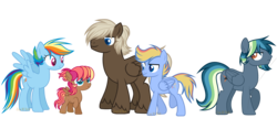 Size: 7000x3000 | Tagged: alternate hairstyle, artist:detoxx-retoxx, base used, colt, dumbbell, dumbdash, family, female, filly, male, oc, oc:arizona, oc:stratus storm, oc:wild blue, offspring, parent:dumbbell, parent:rainbow dash, parents:dumbdash, pegasus, pony, rainbow dash, safe, shipping, simple background, stallion, straight, transparent background