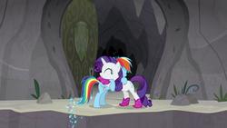 Size: 1280x720 | Tagged: safe, screencap, rainbow dash, rarity, pegasus, pony, unicorn, the end in friend, azurantium, boots, female, glitter boots, hug, mare, neckerchief, shoes, sparkles