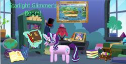 Size: 1001x513 | Tagged: safe, artist:alyssavivian0811, applejack, fluttershy, pinkie pie, rainbow dash, rarity, starlight glimmer, twilight sparkle, pony, unicorn, 1e+06 hours in paint 3d, book, female, globe, glowing horn, hat, mane six, mare, paint 3d, shelf, solo, top hat, window