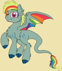 Size: 1456x1652   Tagged: safe, artist:rosefang16, oc, oc only, oc:spectrum blaze, pegasus, pony, chest fluff, colored wings, female, leonine tail, male, mare, multicolored wings, rainbow wings, simple background, smiling, solo, tan background