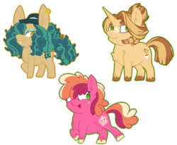 Size: 923x758 | Tagged: safe, artist:missmele-madness, oc, oc only, oc:cuppa joe, oc:frenzied beats, oc:peachy keen, earth pony, pony, unicorn, pandoraverse, blaze (coat marking), chibi, ear piercing, earring, female, hair over one eye, hat, jewelry, male, mare, next generation, offspring, parent:big macintosh, parent:cheerilee, parent:cinnamon chai, parent:coloratura, parent:donut joe, parent:hayseed turnip truck, parent:sapphire shores, parents:cheerimac, parents:cinnamon donut, parents:hayseedshores, piercing, simple background, sperm donation, stallion, transparent background