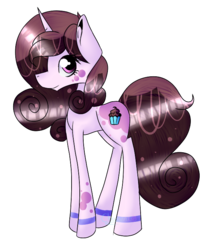 Size: 604x701 | Tagged: safe, artist:chazmazda, oc, oc only, pony, unicorn, amino, commission, cupcake, flat color, food, fullbody, highlight, horn, markings, outline, shade, shading, simple background, solo, transparent background
