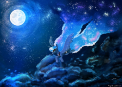 Size: 1280x915 | Tagged: alicorn, artist:ponycide, crown, female, flying, jewelry, mare, moon, pony, princess luna, regalia, safe, solo