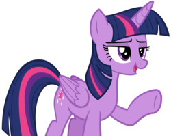 Size: 3428x2724 | Tagged: safe, artist:andoanimalia, twilight sparkle, alicorn, non-compete clause, female, high res, mare, open mouth, raised hoof, simple background, smiling, solo, transparent background, twilight sparkle (alicorn), underhoof, vector