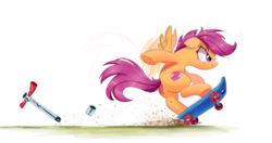 Size: 2000x1059 | Tagged: artist:ncmares, awesome, broken, commission, cutie mark, dangerous, female, filly, pegasus, pony, safe, scootaloo, scooter, simple background, skateboard, skaterloo, solo, the cmc's cutie marks, white background