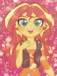 Size: 600x800 | Tagged: safe, artist:rileyav, sunset shimmer, equestria girls, equestria girls series, clothes, cute, female, looking at you, off shoulder, shimmerbetes, shirt, smiling, solo, vest