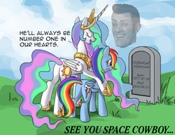 Size: 910x700 | Tagged: alicorn, artist:php58, celestia's grave meme, cowboy bebop, edit, gravestone, hoof shoes, lazytown, legend, meme, memorial, pegasus, pony, press f to pay respects, princess celestia, rainbow dash, rest in peace, robbie rotten, safe, stefán karl stefánsson, we are number one