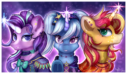 Size: 3900x2259 | Tagged: safe, artist:gaelledragons, artist:ilynalta, starlight glimmer, sunset shimmer, trixie, pony, unicorn, alternate hairstyle, collaboration, counterparts, female, high res, horn ring, magic, magical trio, mare, trio, twilight's counterparts