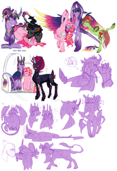 Size: 1364x2000 | Tagged: safe, artist:eqq_scremble, derpibooru exclusive, king sombra, pinkie pie, quibble pants, tempest shadow, tree hugger, twilight sparkle, alicorn, alternate design, armor, armpits, beard, blushing, crown, ear piercing, earring, faceless pony, facial hair, female, flustered, glasses, hair bun, heart, jewelry, king sombra gets all the mares, leonine tail, lesbian, male, neck fluff, nose kiss, piercing, pinkiehugger, polyamory, prosthetic horn, prosthetics, quibblelight, regalia, royal guard, shipping, sombrapie, straight, straight hair, tempest becomes a royal guard, tempest gets her horn back, tempestlight, tempestpie, throne, tired, twibra, twihugger, twilight sparkle (alicorn), twinkie, twinkiebra, twinkiehugger, twinkiepest, yoga