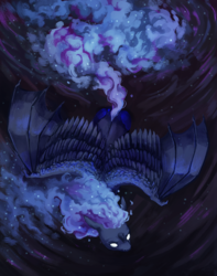 Size: 1200x1523 | Tagged: alicorn, artist:weird--fish, bat wings, ethereal mane, flying, horn, hybrid wings, nightmare moon, pony, princess luna, safe, sky, solo, space, white eyes, wings