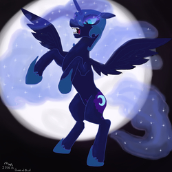 Size: 1024x1024   Tagged: safe, artist:drops-of-blood, nightmare moon, alicorn, pony, angry, female, moon, rearing, solo