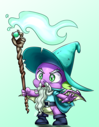 Size: 900x1152 | Tagged: safe, artist:pia-sama, spike, dragon, dungeons and dragons, garbuncle, hat, ogres and oubliettes, pen and paper rpg, rpg, solo, staff, wizard, wizard hat