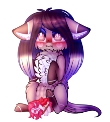 Size: 1341x1476 | Tagged: safe, artist:honeybbear, oc, oc only, oc:claire, oc:red ace, earth pony, pony, blushing, cake, chest fluff, female, floppy ears, food, mare, plushie, simple background, transparent background