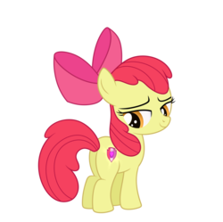 Size: 1024x1019   Tagged: safe, artist:mirrorcrescent, apple bloom, earth pony, pony, adorabloom, apple bloom's bow, atg 2018, bloom butt, bow, cute, female, filly, hair, hair bow, looking at you, newbie artist training grounds, plot, simple background, solo, transparent background