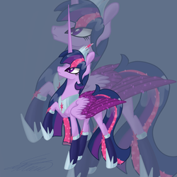 Size: 4000x4000   Tagged: safe, artist:crystalcontemplator, twilight sparkle, alicorn, pony, alternate design, boots, clothes, crown, female, large wings, long horn, long mane, long tail, mare, peytral, regalia, shoes, signature, socks, solo, starry eyes, twilight sparkle (alicorn), wingding eyes, wings, zoom layer