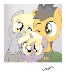Size: 3170x3539 | Tagged: artist:aaronmk, atg 2018, clothes, derpsentry, derpy hooves, dinky hooves, female, flash sentry, male, newbie artist training grounds, polaroid, safe, shipping, straight, sweater, tired, vector