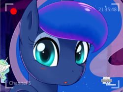 Size: 1600x1200 | Tagged: alicorn, artist:amberlumines, blushing, camera, camera shot, cute, female, giggling, laughing, looking at you, lunabetes, mare, offscreen character, open mouth, pony, pov, princess celestia, princess luna, recording, safe, smiling, webcam, wide eyes