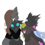 Size: 4500x4512 | Tagged: safe, artist:0silverstardust0, oc, oc only, changeling, earth pony, pony, absurd resolution, commission, cute, cuteling, female, flat colors, group, hug, hug from behind, male, polyamory, simple background, transparent background, wip