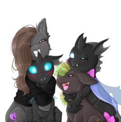 Size: 4500x4512 | Tagged: safe, artist:0silverstardust0, oc, oc only, oc:tectus ignis, oc:waveform, changeling, earth pony, pony, absurd resolution, commission, cute, female, group, hug, hug from behind, male, polyamory, simple background, transparent background