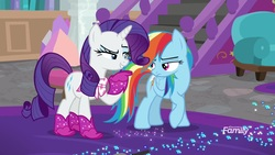 Size: 1920x1080 | Tagged: safe, screencap, rainbow dash, rarity, pony, the end in friend, azurantium, boots, glitter, glitter boots, shoes