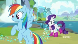 Size: 1920x1080 | Tagged: safe, screencap, rainbow dash, rarity, pegasus, pony, unicorn, the end in friend, azurantium, boomerang (tv channel), boots, female, glitter, glitter boots, mare, neckerchief, outdoors, river, shoes, sparkles, stepping stones, waterfall, youtube link