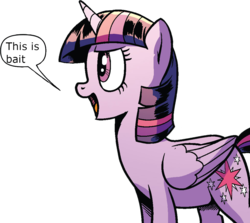 Size: 1019x910 | Tagged: safe, artist:pencils, edit, idw, twilight sparkle, alicorn, pony, spoiler:comic, spoiler:comic69, background removed, female, mare, official comic, reaction image, simple background, solo, speech bubble, the magic is gone, this is bait, transparent background, twilight sparkle (alicorn)