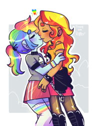 Size: 768x1024 | Tagged: safe, artist:jackytheripperart, rainbow dash, sunset shimmer, equestria girls, clothes, eyes closed, female, lesbian, pantyhose, shipping, shirt, skirt, smiling, socks, sunsetdash, thigh highs