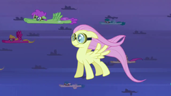 Size: 1280x720 | Tagged: background pony, female, fluttershy, flying, goggles, hurricane fluttershy, mare, pegasus, pony, safe, screencap, smiling, spring melody, sprinkle medley, standing up, tornado