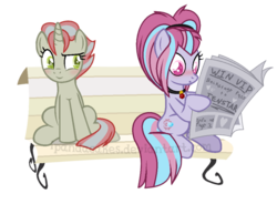 Size: 950x698 | Tagged: safe, artist:ipandacakes, oc, oc only, oc:roxy, oc:serenata gleam, earth pony, pony, unicorn, base used, bench, female, magical lesbian spawn, mare, newspaper, offspring, parent:aria blaze, parent:flam, parent:limestone pie, parent:sonata dusk, parents:arisona, simple background, transparent background