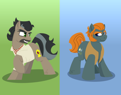 Size: 1836x1438 | Tagged: safe, artist:binkyt11, derpibooru exclusive, doctor caballeron, rogue (character), earth pony, pony, atg 2018, cutie mark, duo, eyebrows, gradient background, grin, henchmen, hooves, lineless, looking at each other, male, minimalist, modern art, newbie artist training grounds, raised hoof, scar, smiling, stallion