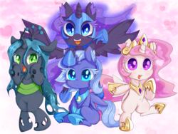 Size: 1500x1125 | Tagged: safe, artist:zokkili, nightmare moon, princess celestia, princess luna, queen chrysalis, alicorn, changeling, pony, bipedal, cewestia, colored eyelashes, cute, cutealis, cutelestia, duality, ear fluff, female, filly, filly celestia, filly luna, filly queen chrysalis, looking at you, lunabetes, moonabetes, nightmare woon, open mouth, pink-mane celestia, s1 luna, self ponidox, sitting, smiling, spread wings, underhoof, wings, woona, young celestia, young luna, younger