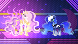 Size: 1920x1080 | Tagged: safe, artist:laszlvfx, artist:sugaryicecreammlp, edit, princess celestia, princess luna, alicorn, pony, abstract background, alternate design, alternate hairstyle, colored wings, colored wingtips, duo, ethereal mane, female, mare, pink-mane celestia, royal sisters, sisters, starry mane, wallpaper, wallpaper edit