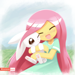 Size: 1000x1000 | Tagged: angelbetes, angel bunny, artist:howxu, clothes, cute, dress, duo, equestria girls, female, fluttershy, howxu is trying to murder us, male, safe, shyabetes