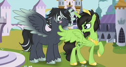 Size: 1024x549 | Tagged: safe, artist:flufflesauce, artist:mayrinmewmew, oc, oc:polaris sky, oc:wilted ivy, alicorn, alicorns, black, blue eyes, charcoal drawing, couple, cute, embarrassed, female, flirty, gold armor, green, green eyes, group, male, male and female, raised hoof, royalty, spread wings, traditional art, wingboner, wings