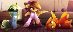 Size: 2833x1252   Tagged: safe, artist:magnaluna, oc, oc only, oc:camber, oc:joycie, oc:serenity, pegasus, pony, unicorn, behaving like a cat, clothes, couch, cute, derp, eyes closed, female, heart, magnaluna is trying to murder us, mare, ocbetes, scrunchy face, silly, silly pony, sweater, vest, weapons-grade cute, yarn, ych result
