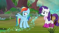 Size: 1920x1080 | Tagged: safe, screencap, rainbow dash, rarity, pegasus, pony, unicorn, the end in friend, azurantium, boots, cattails, duo, female, glitter boots, mare, neckerchief, shoes, sparkles