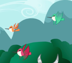 Size: 332x289 | Tagged: safe, screencap, bird, hummingbird, may the best pet win, animal, cropped, flying, trio