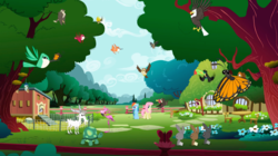 Size: 1440x809 | Tagged: safe, screencap, derpy hooves, fluttershy, rainbow dash, tank, bald eagle, bat, bird, butterfly, buzzard, eagle, falcon, flamingo, goat, hummingbird, insect, keel-billed toucan, owl, pegasus, pony, rabbit, tortoise, toucan, wasp, may the best pet win, animal, bird of prey, chicken coop, female, fluttershy's cottage, flying, mare, monarch butterfly, peregrine falcon, tree