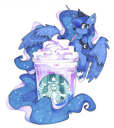 Size: 1280x1426 | Tagged: safe, artist:share dast, princess luna, alicorn, pony, cute, drink, drinking, drinking straw, ear fluff, ethereal mane, female, food, frappuccino, looking at you, lunabetes, mare, simple background, solo, spread wings, starbucks, starry mane, straw, traditional art, unicorn frappuccino, whipped cream, white background, wings
